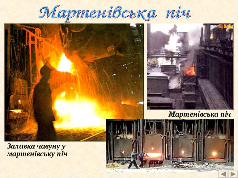 Заливка чавуну у мартенівську піч Мартенівська піч