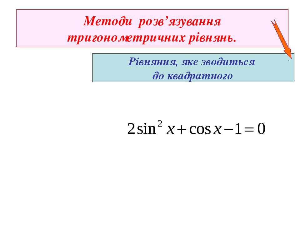 Методи розв'язування тригонометричних рівнянь. Рівняння, яке зводиться до ква...