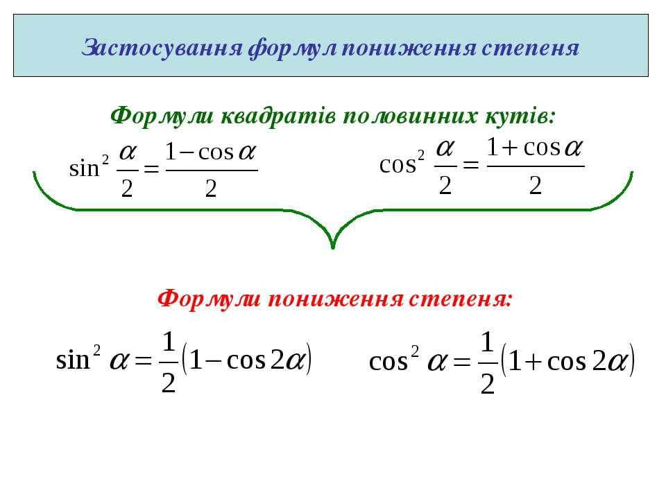 Формули квадратів половинних кутів: Формули пониження степеня: Застосування ф...