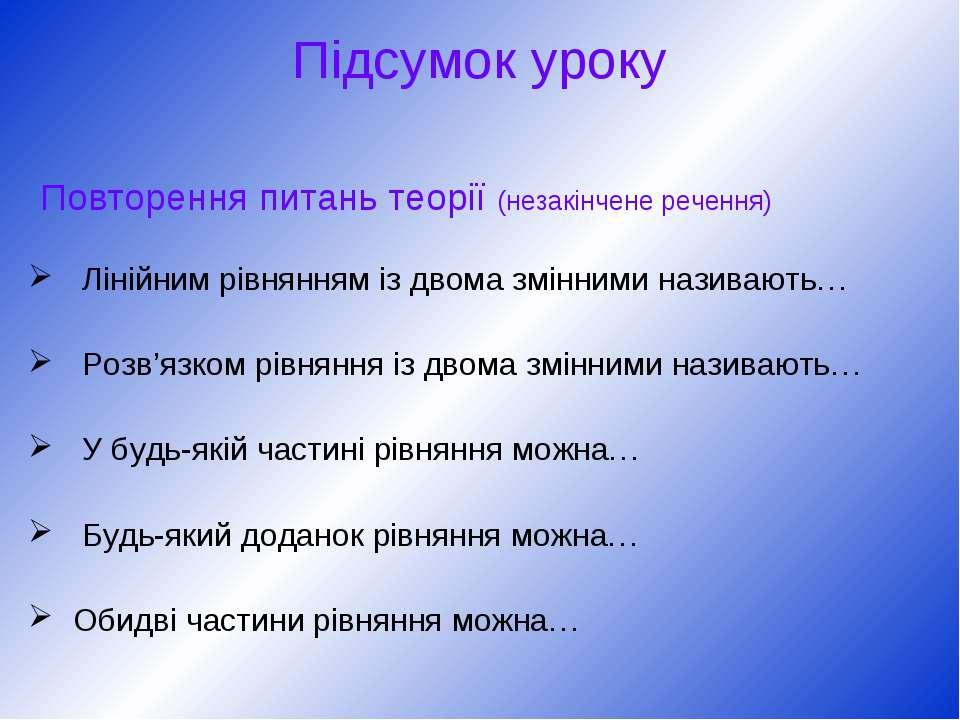Підсумок уроку Повторення питань теорії (незакінчене речення) Лінійним рівнян...