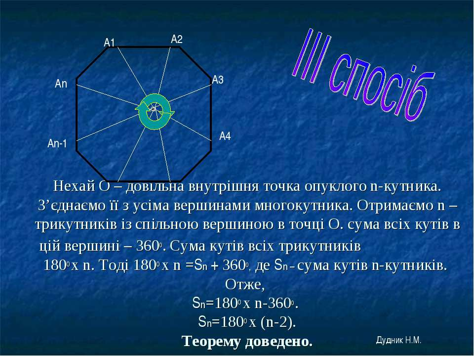 Нехай О – довільна внутрішня точка опуклого n-кутника. З'єднаємо її з усіма в...