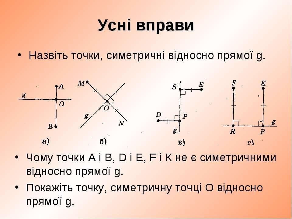 Усні вправи Назвіть точки, симетричні відносно прямої g. Чому точки А і В, D ...