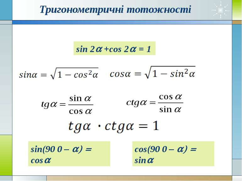 Тригонометричні тотожності cos(90 0 – a) = sina sin 2a +cos 2a = 1 sin(90 0 –...