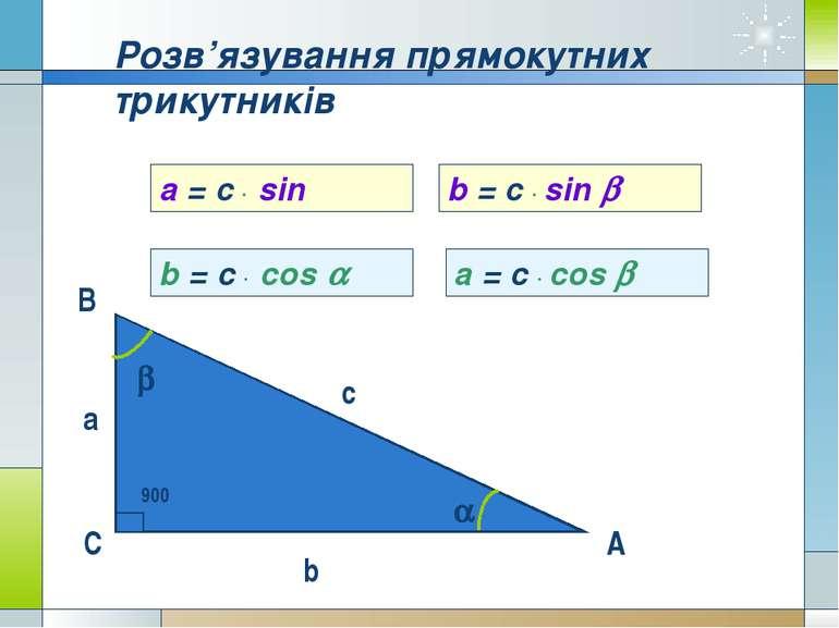 В С А c а b Розв'язування прямокутних трикутників a b 900 a = c sinα b = c si...