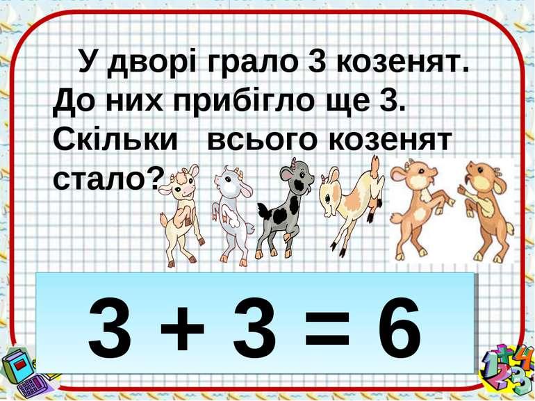 У дворі грало 3 козенят. До них прибігло ще 3. Скільки всього козенят стало? ...