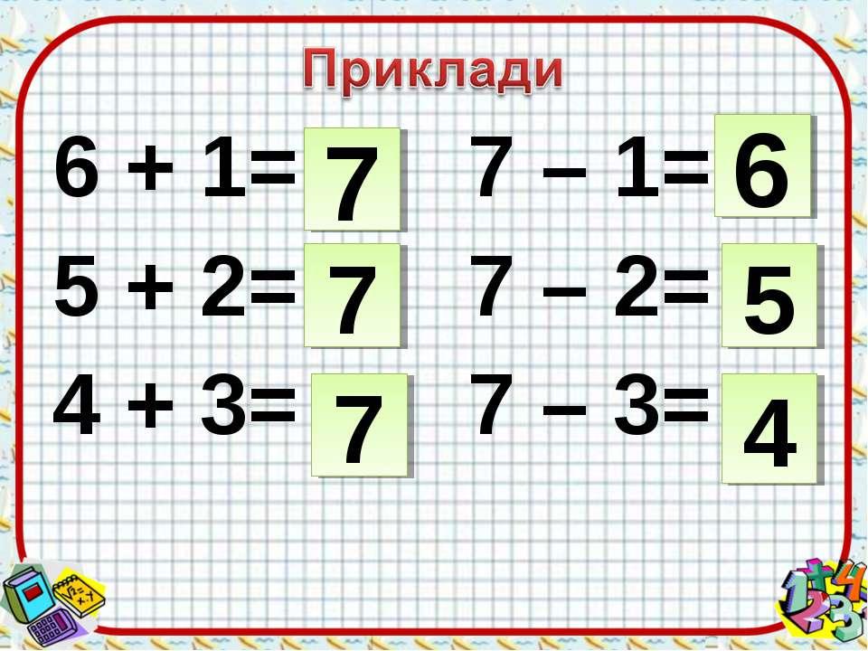 6 + 1= 7 – 1= 5 + 2= 7 – 2= 4 + 3= 7 – 3= 7 5 6 7 7 4