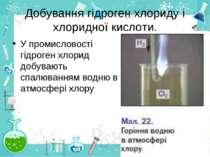 Добування гідроген хлориду і хлоридної кислоти. У промисловості гідроген хлор...