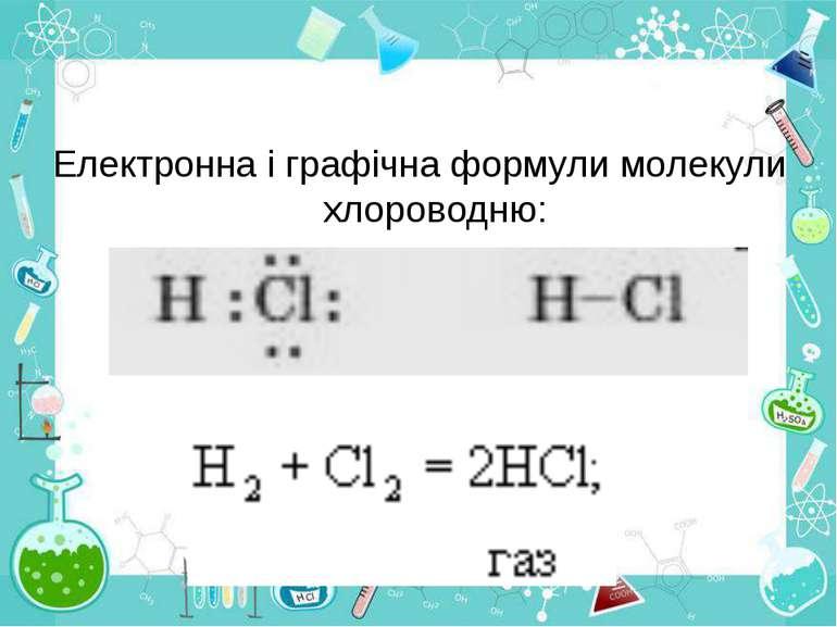Електронна і графічна формули молекули хлороводню: