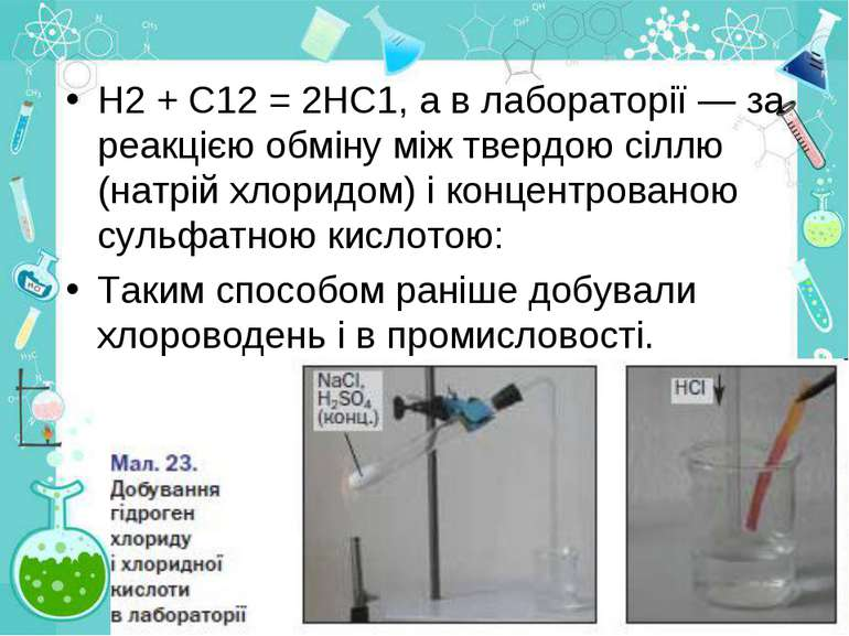 Н2 + С12 = 2НС1, а в лабораторії — за реакцією обміну між твердою сіллю (натр...