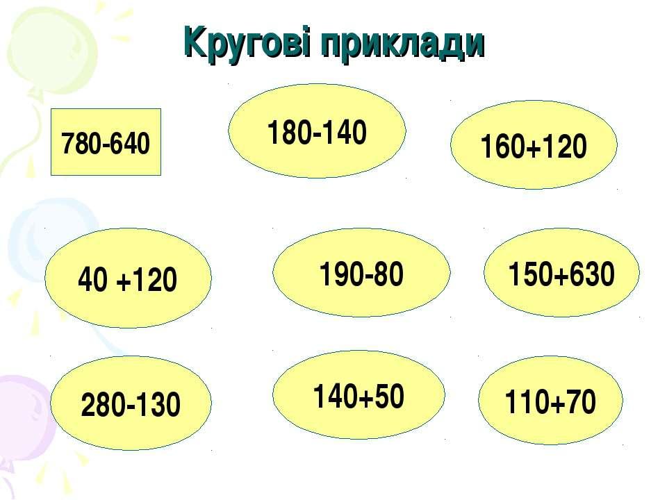 Кругові приклади 780-640 180-140 190-80 40 +120 280-130 140+50 160+120 150+63...