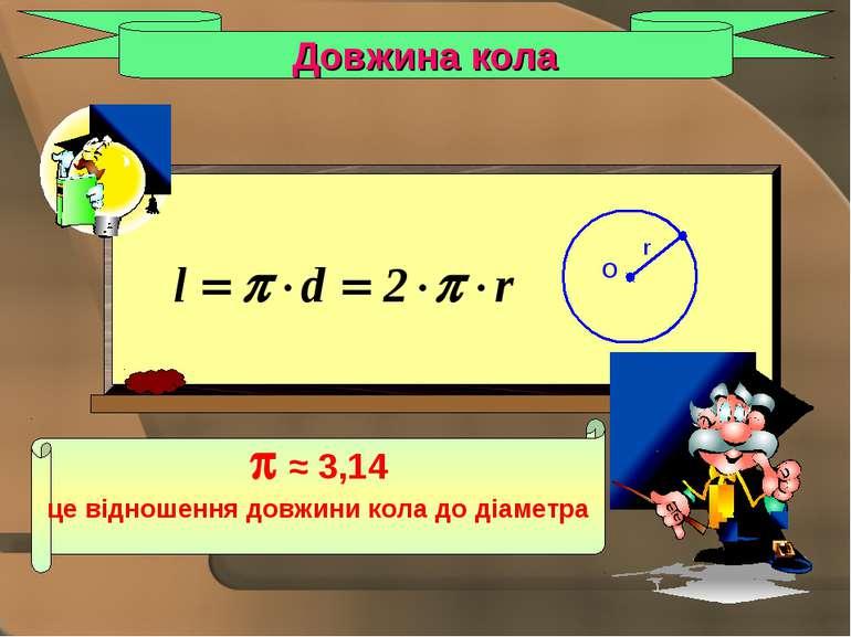 Довжина кола ≈ 3,14 це відношення довжини кола до діаметра O r