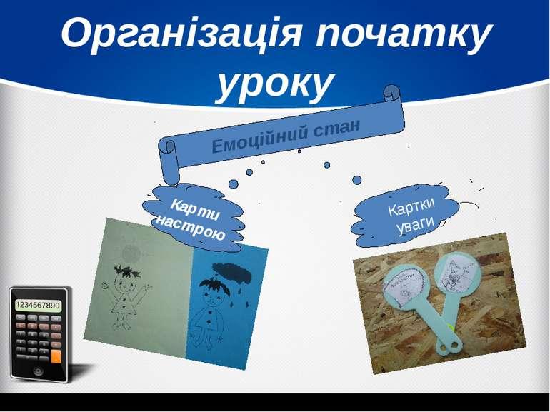 Організація початку уроку Емоційний стан Карти настрою Картки уваги