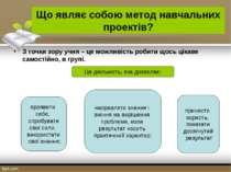 Що являє собою метод навчальних проектів? З точки зору учня – це можливість р...