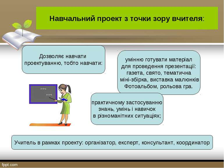 Навчальний проект з точки зору вчителя: Дозволяє навчати проектуванню, тобто ...