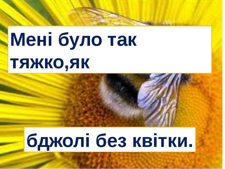 Мені було так тяжко,як бджолі без квітки.
