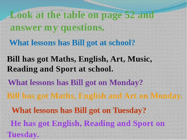 Look at the table on page 52 and answer my questions. What lessons has Bill g...