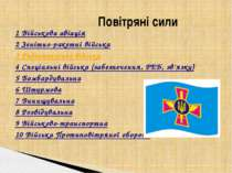 1Військова авіація 2Зенітно-ракетні війська 3Радіотехнічні війська 4Спеці...
