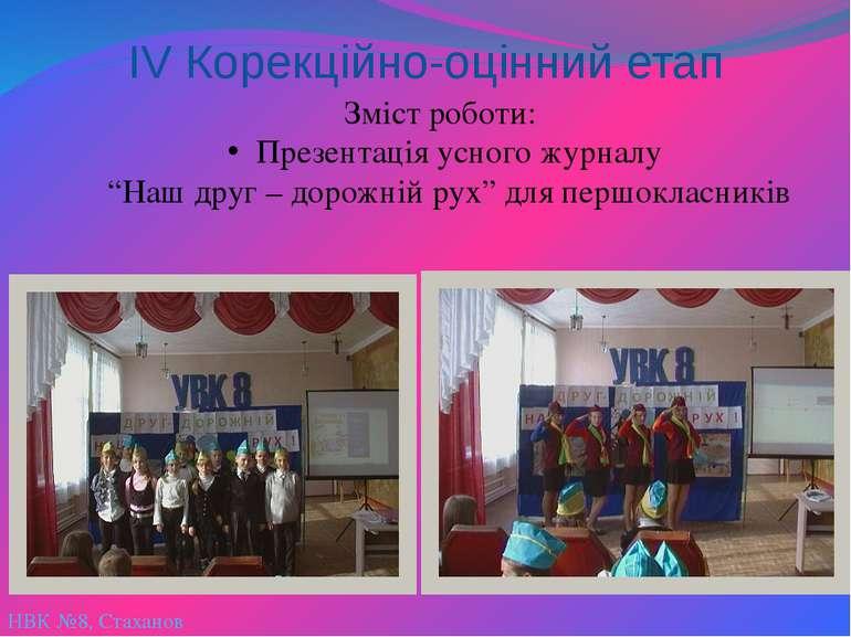 НВК №8, Стаханов ІV Корекційно-оцінний етап Зміст роботи: Презентація усного ...