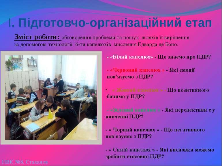 НВК №8, Стаханов І. Підготовчо-організаційний етап Зміст роботи: обговорення ...