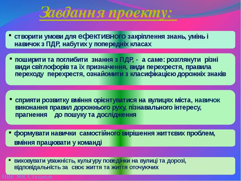 НВК №8, Стаханов Завдання проекту:
