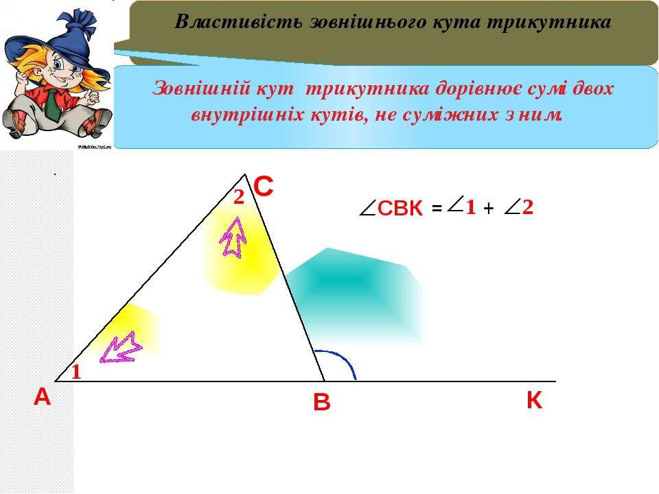 В А С ВСК – Зовнішній кут трикутника Теорема 9. Зовнішній кут трикутника дорі...