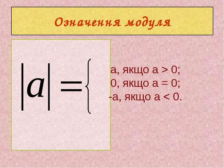 Означення модуля a, якщо a > 0; 0, якщо а = 0; -а, якщо а < 0.