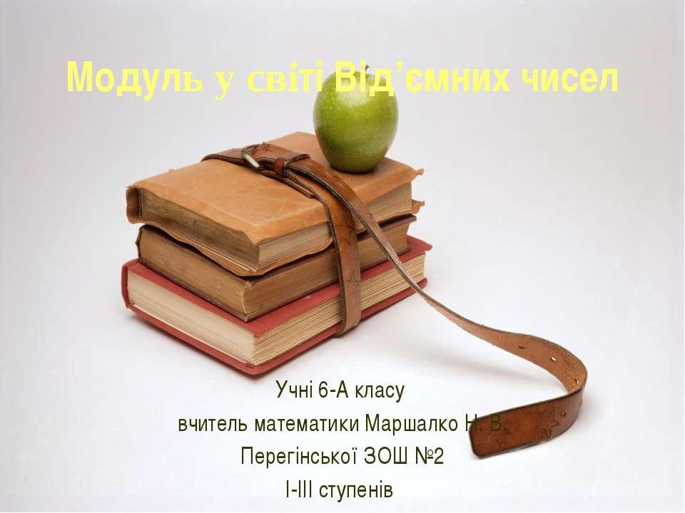 Модуль у світі Від'ємних чисел Учні 6-А класу вчитель математики Маршалко Н. ...