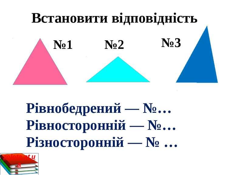 Встановити відповідність №1 №2 №3 Рівнобедрений — №… Рівносторонній — №… Різн...