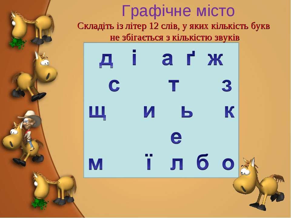 Графічне місто Складіть із літер 12 слів, у яких кількість букв не збігається...