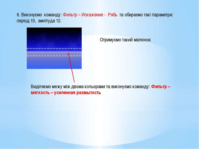 6. Виконуємо команду: Фильтр – Искажение - Рябь та обираємо такі параметри: п...
