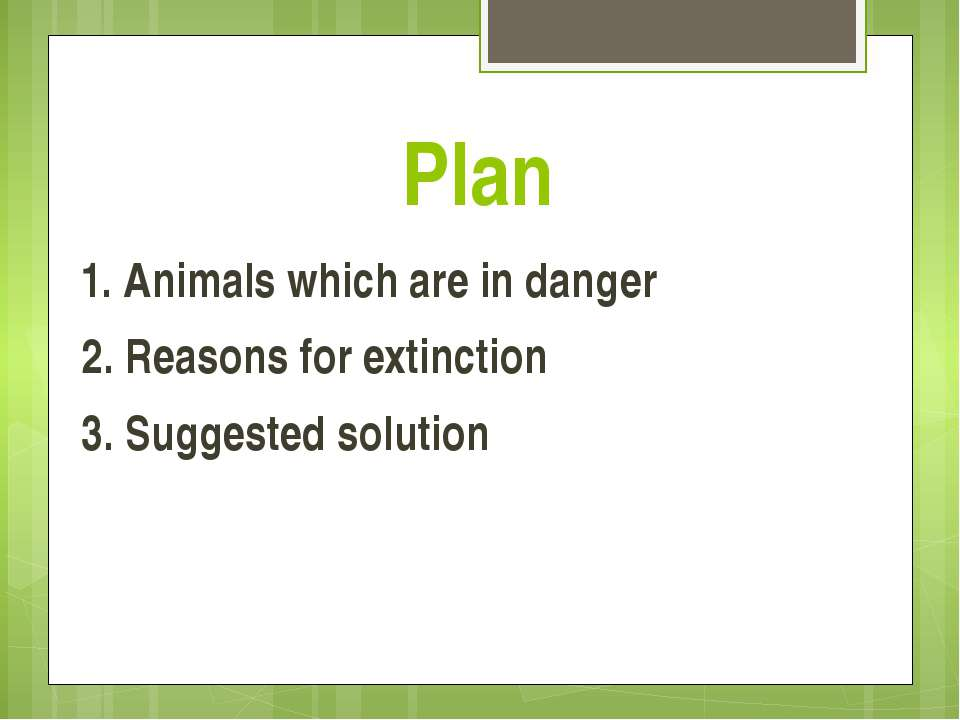 Plan 1. Animals which are in danger 2. Reasons for extinction 3. Suggested so...