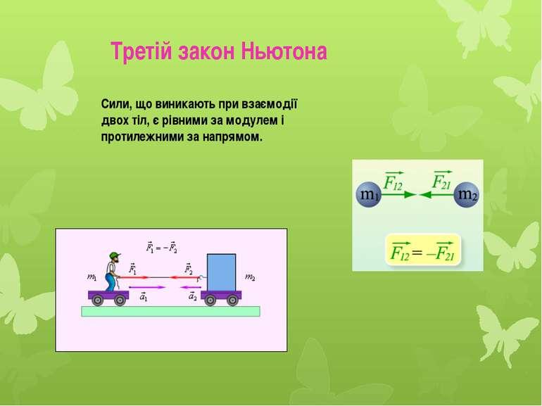 Сили, що виникають при взаємодії двох тіл, є рівними за модулем і протилежним...