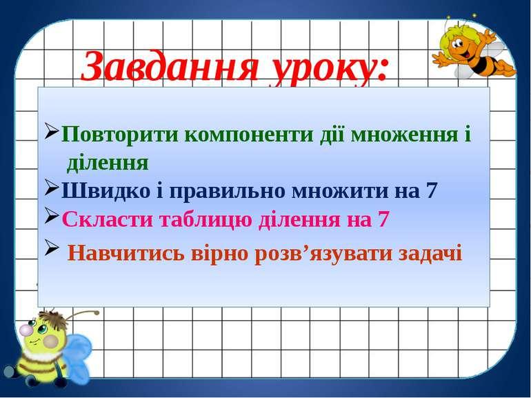 Завдання уроку: Повторити компоненти дії множення і ділення Швидко і правильн...
