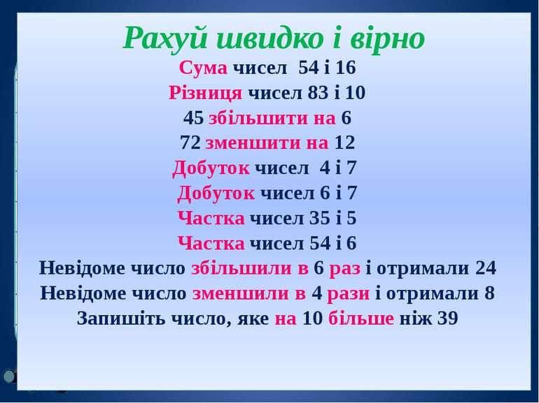 Рахуй швидко і вірно Сума чисел 54 і 16 Різниця чисел 83 і 10 45 збільшити на...