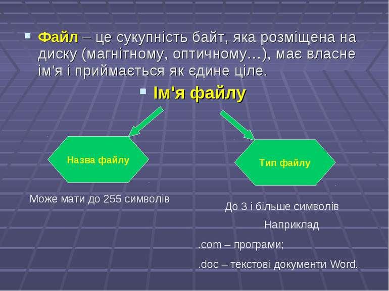 Файл – це сукупність байт, яка розміщена на диску (магнітному, оптичному…), м...