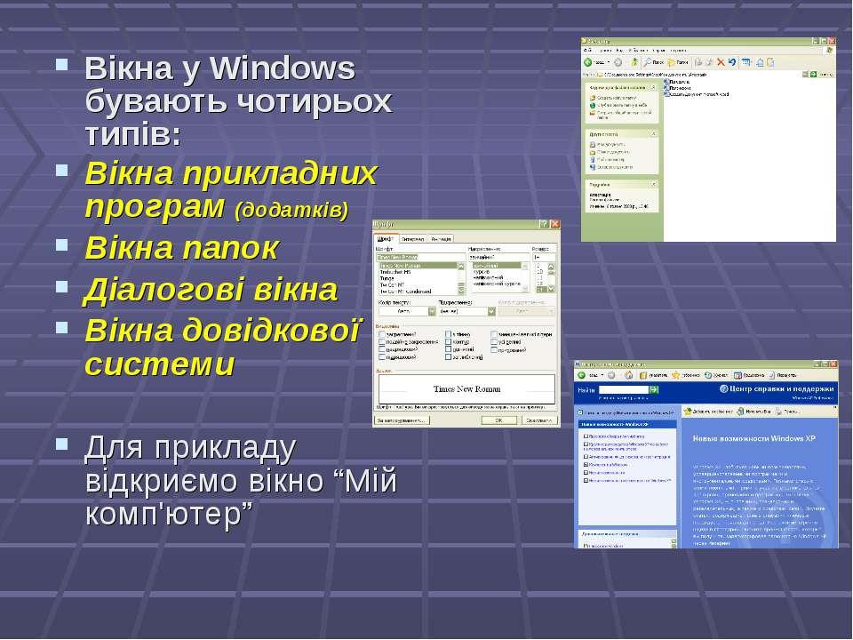 Вікна у Windows бувають чотирьох типів: Вікна прикладних програм (додатків) В...