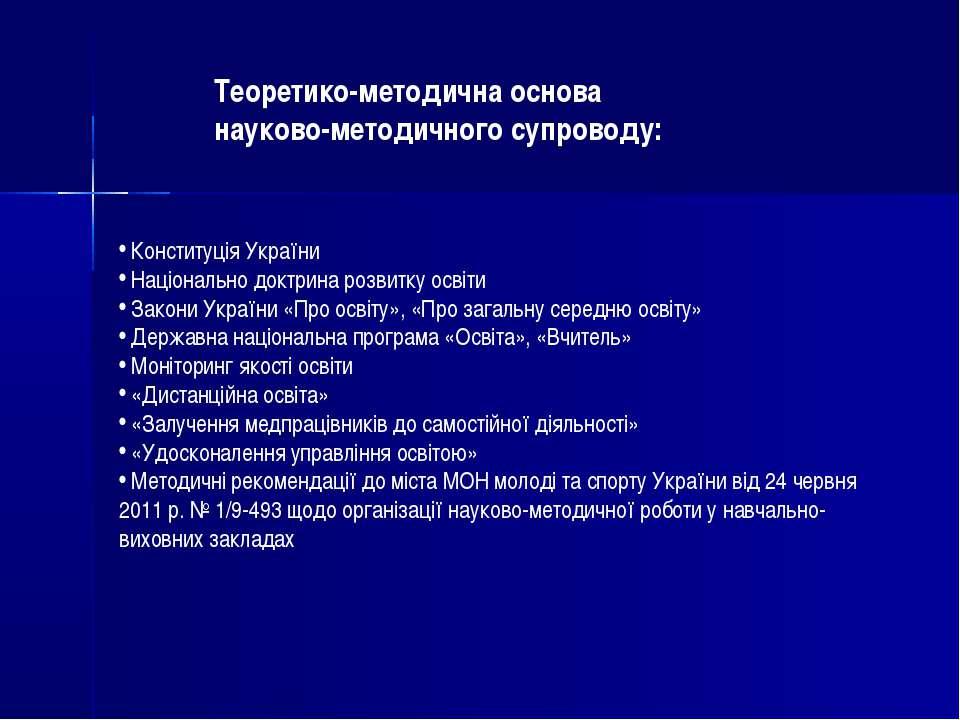 Конституція України Національно доктрина розвитку освіти Закони України «Про ...