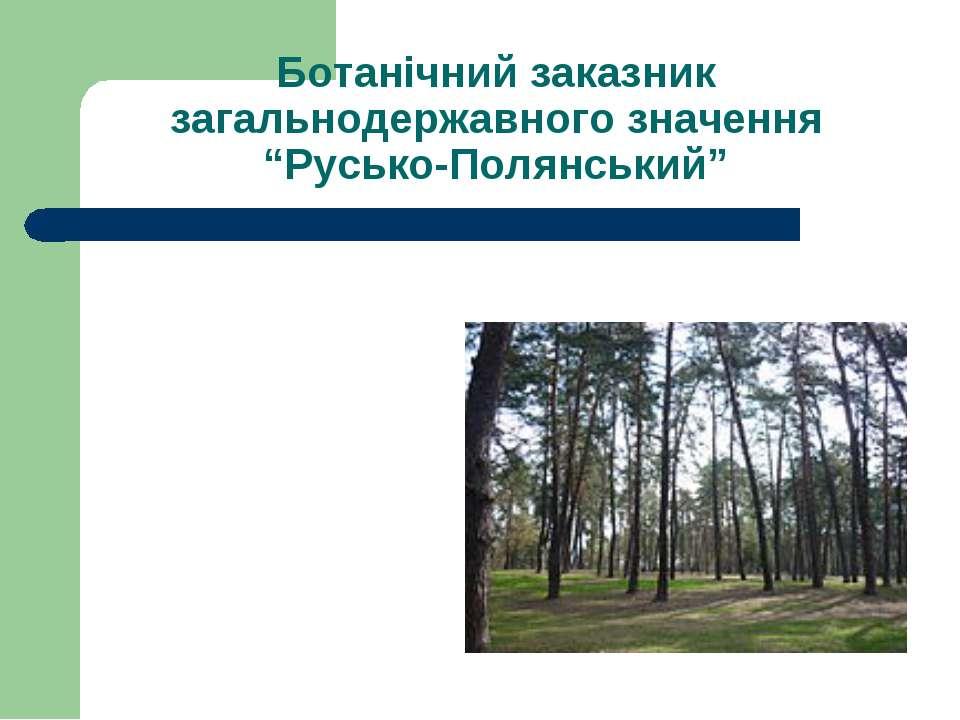 "Ботанічний заказник загальнодержавного значення ""Русько-Полянський"""
