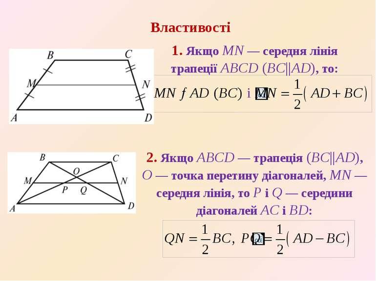 1. Якщо MN — середня лiнiя трапеції ABCD (BC||AD), то: Властивостi 2. Якщо AB...