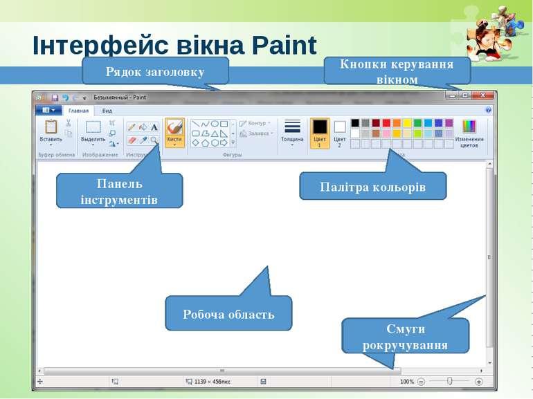 www.teach-inf.at.ua Інтерфейс вікна Paint Палітра кольорів Панель інструменті...