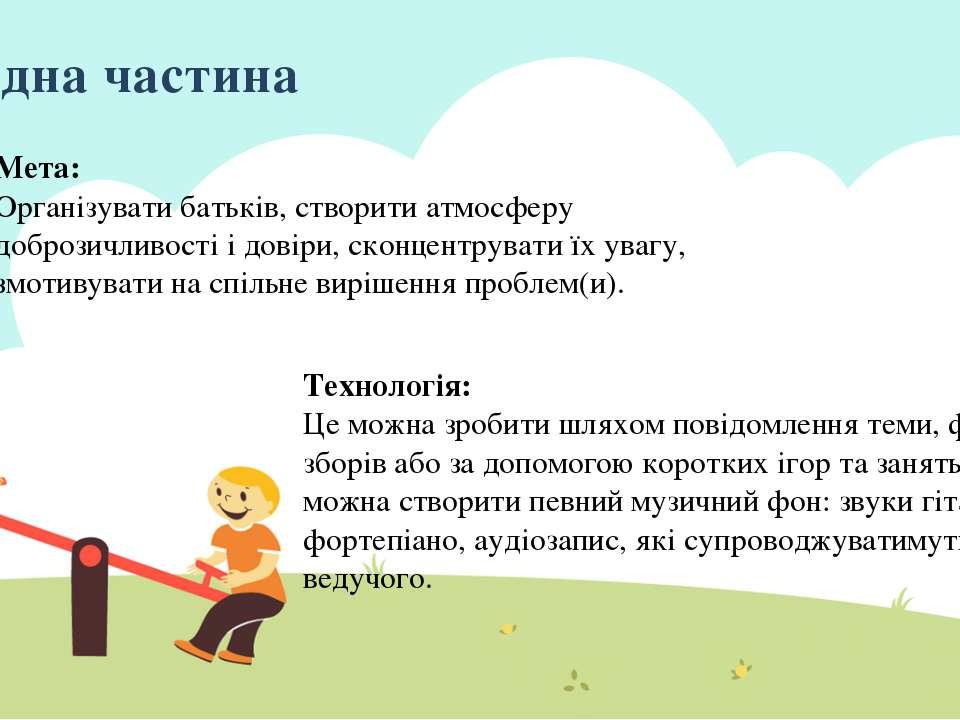 Ввідна частина Мета: Організувати батьків, створити атмосферу доброзичливості...