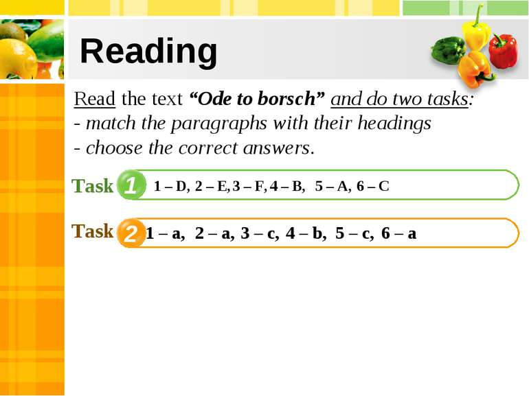"Reading 1 2 4 Read the text ""Ode to borsch"" and do two tasks: - match the par..."