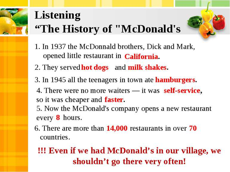 "Listening ""The History of ""McDonald's 1. In 1937 the McDonnald brothers, Dick..."