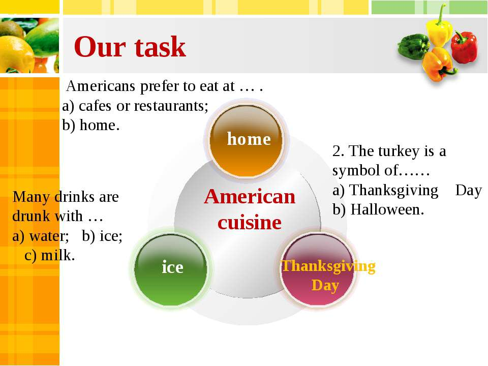Our task American cuisine Americans prefer to eat at … . a) cafes or restaura...