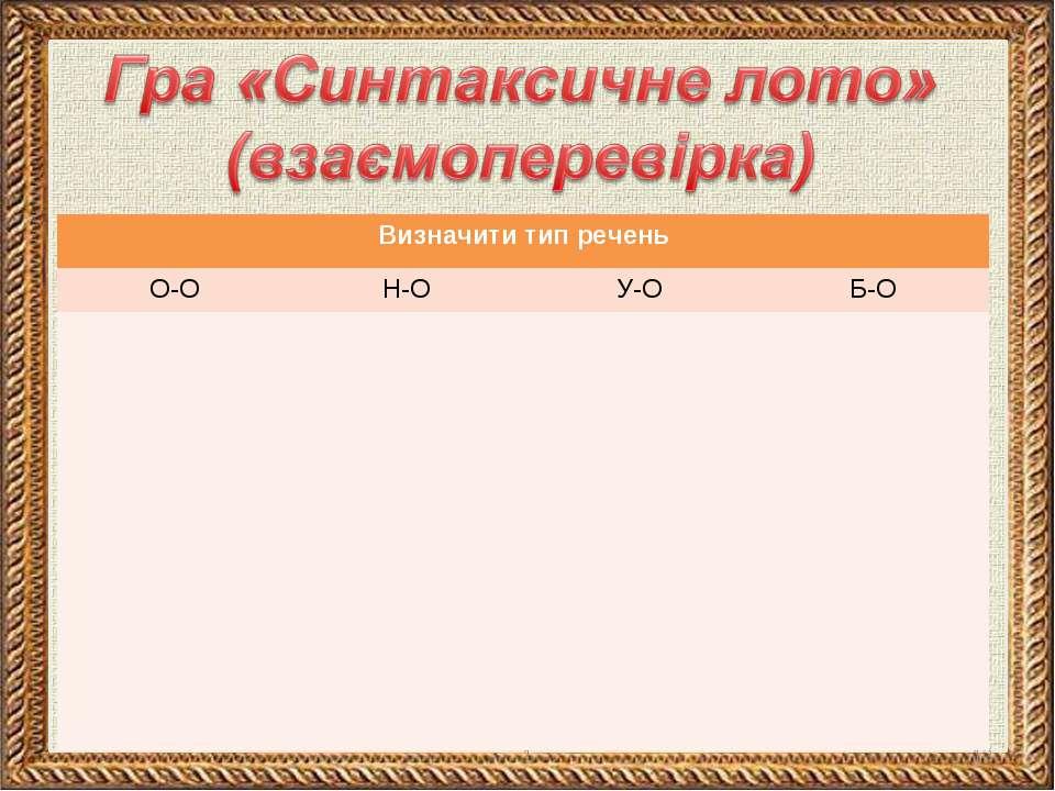 * 1 Визначити тип речень О-О Н-О У-О Б-О 1