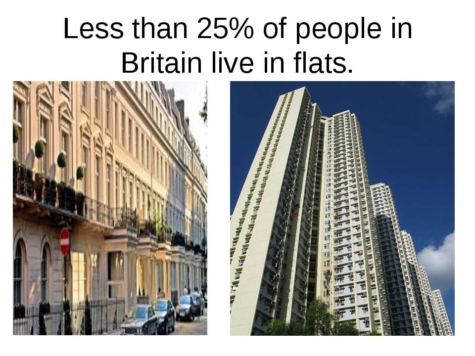 Less than 25% of people in Britain live in flats.