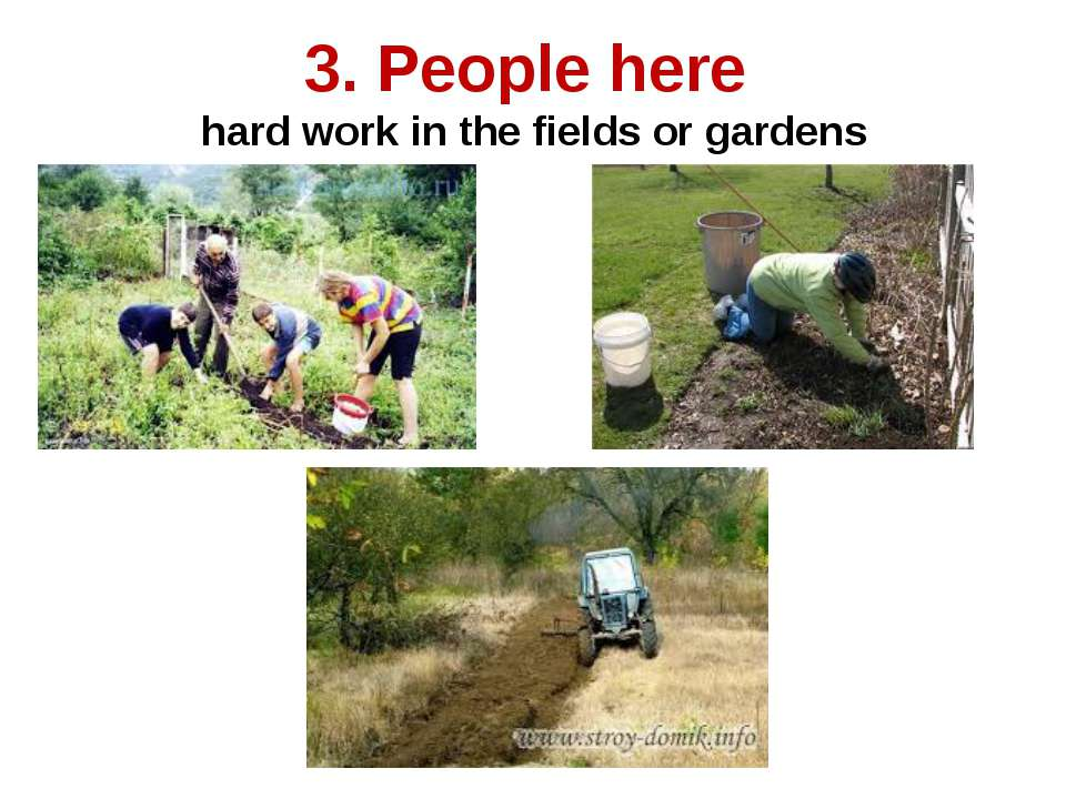 3. People here hard work in the fields or gardens