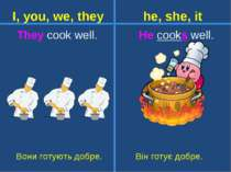 They cook well. He cooks well. Вони готують добре. Він готує добре. I, you, w...