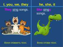 They sing songs. She sings songs. Вони співають пісні. I, you, we, they he, s...