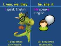 I speak English. He speaks English. Він розмовляє англійською. I, you, we, th...